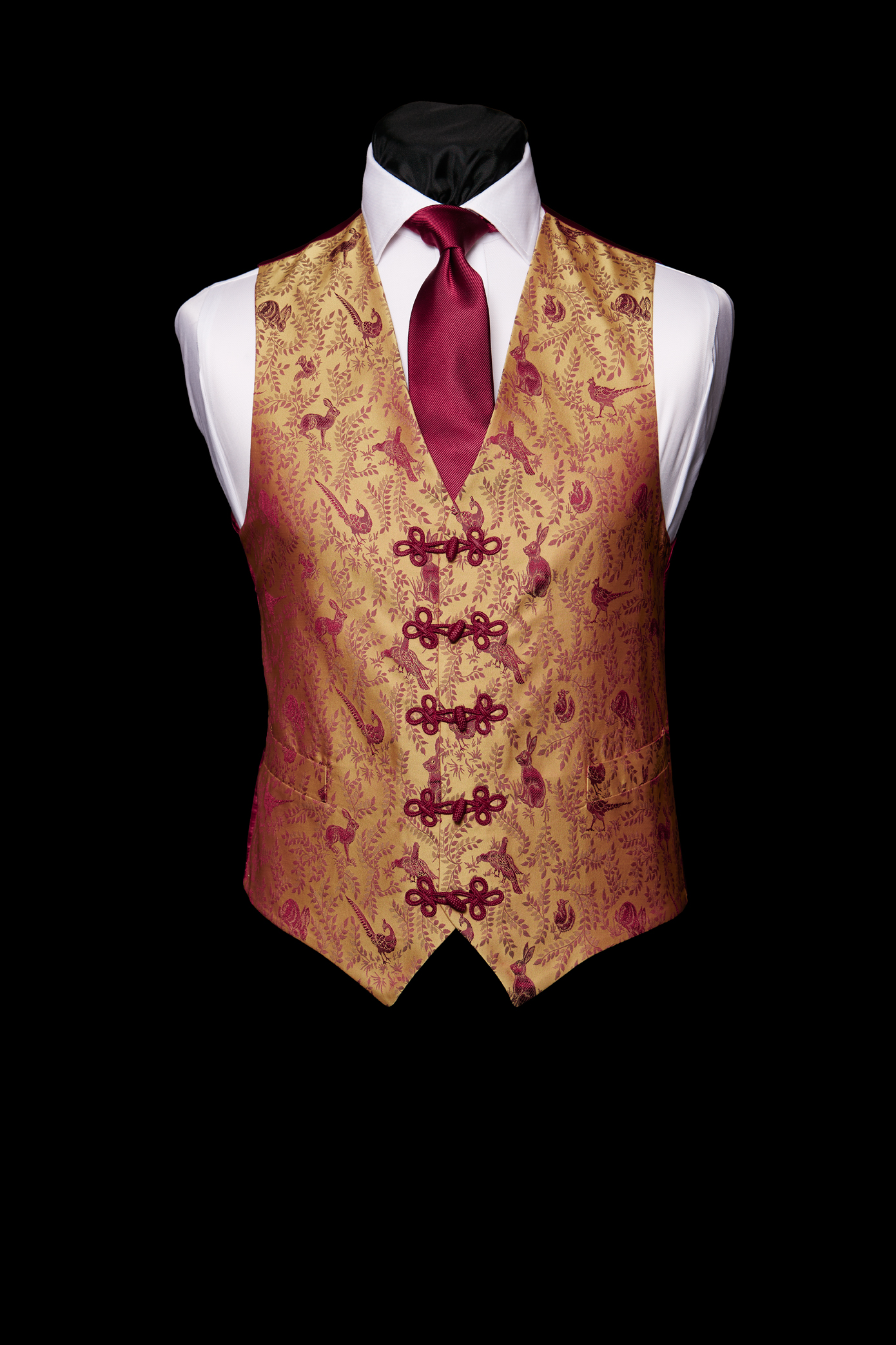 Burgundy silk hare and pheasant waistcoat with silk frogging