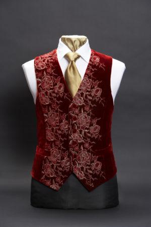 Burgundy and gold embroidered silk velvet roses waistcoat