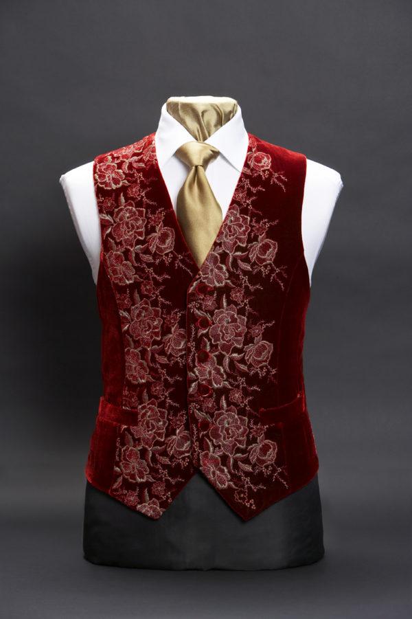 Burgundy and gold velvet embroidered roses waistcoat