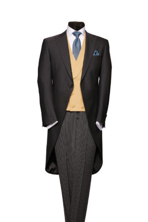 Plain charcoal grey superfine wool morning suit with grey stripe trousers