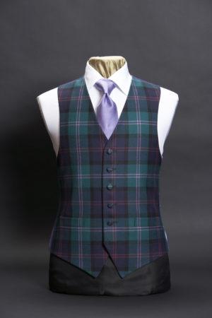 Tartan green and lilac wool waistcoat