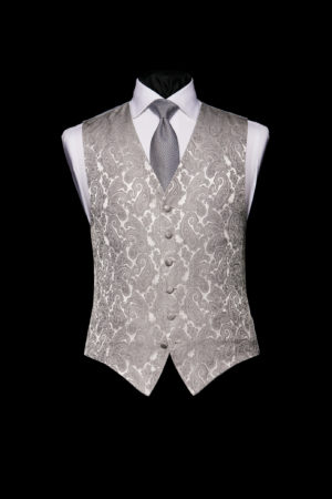 Silver vintage paisley silk single-breasted waistcoat