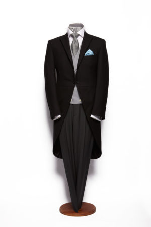 Black herringbone wool morning suit with silk piping on collar