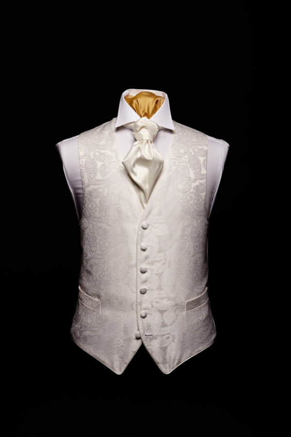 Ivory silk paisley waistcoat with ivory silk piping