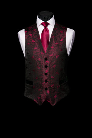 Black silk waistcoat with Burgundy elephants and velvet buttons and pockets