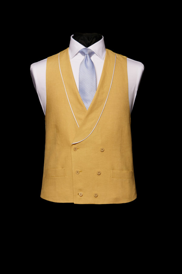 Yellow linen double breasted waistcoat with ivory silk piping