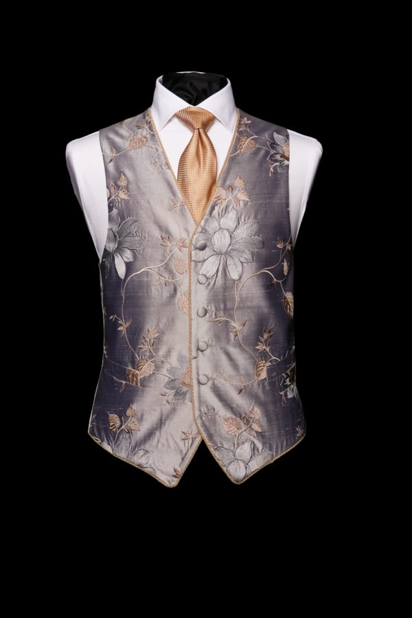 Silver silk base with floral embroidery limited edition waistcoat with piping