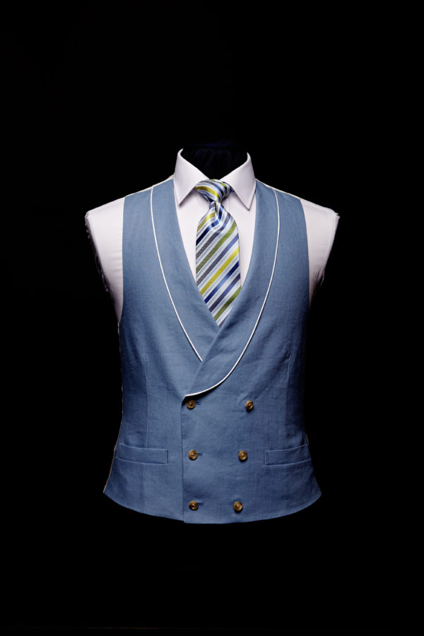Blue linen double breasted waistcoat with ivory silk piping