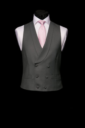 Charcoal grey wool double-breasted waistcoat