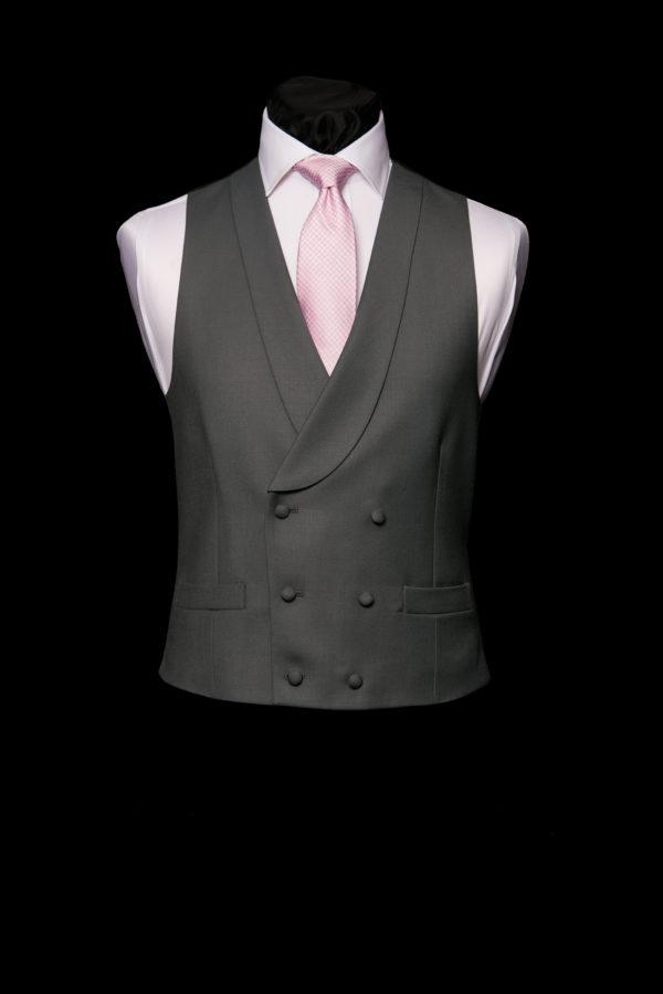 Dark grey wool double breasted waistcoat