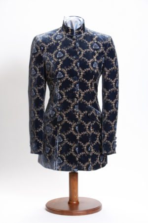 Ladies blue silk velvet embroidered Nehru jacket
