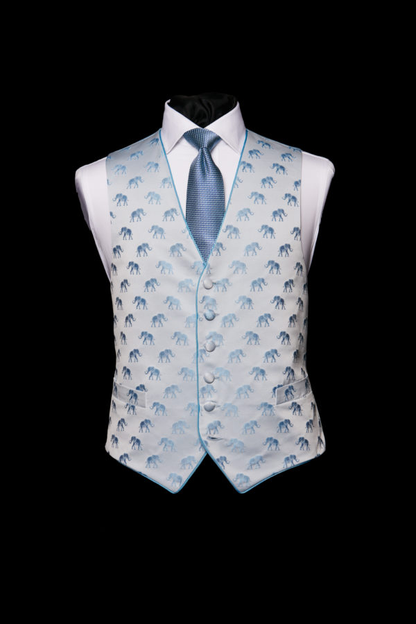 Ice blue silk base waistcoat with blue elephants and blue silk piping