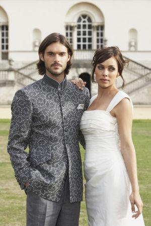 Grey swirlembroidered linen Nehru jacket