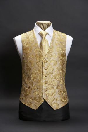 Gold silk damask embroidered waistcoat