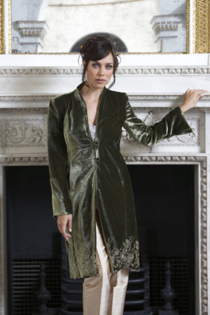 Ladies olive green silk velvet embroidered bespoke jacket