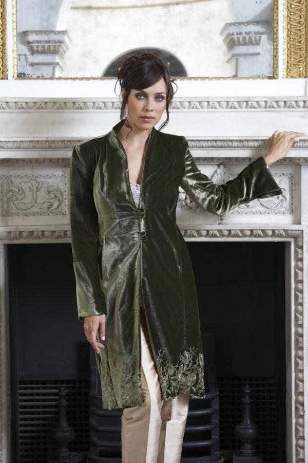 Ladies bespoke olive green jacket