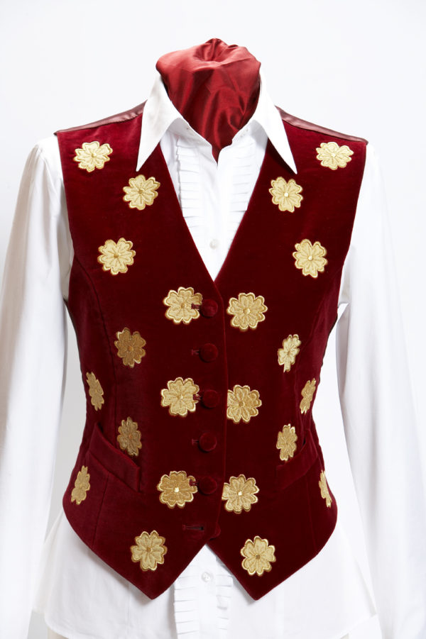 Ladies embroidered red velvet waistcoat with gold flowers