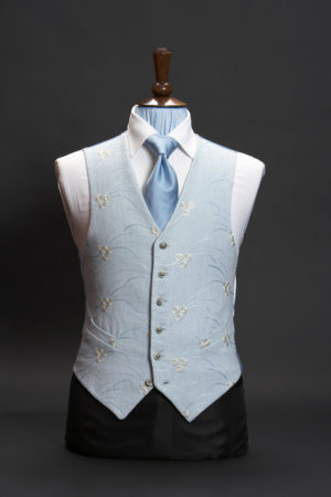 Blue linen embroidered waistcoat with ivory embroidery