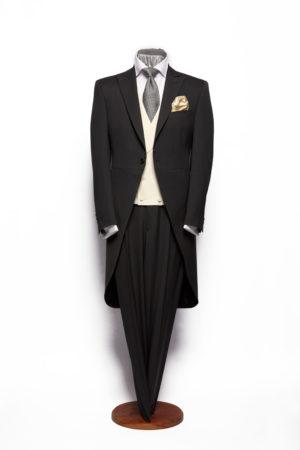 Charcoal grey herringbone lightweight wool morning coat with grey herringbone wool trousers