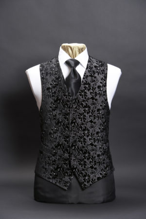 Black silk velvet and silver six button embroidered waistcoat