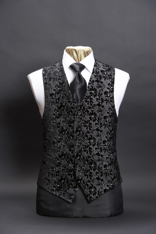 Black velvet embroidered waistcoat with silver embroidery