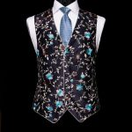 Navy blue silk embroidered limited edition waistcoat with silk piping