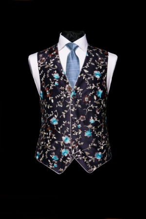 Navy blue silk embroidered limited edition waistcoat with piping