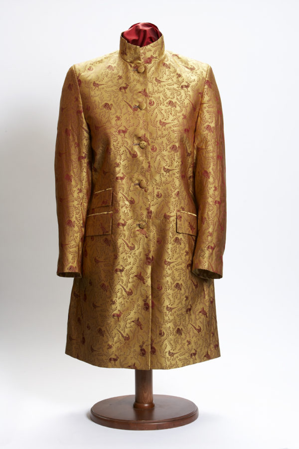 Ladies bespoke gold and red rabbit and pheasants silk Nehru jacket