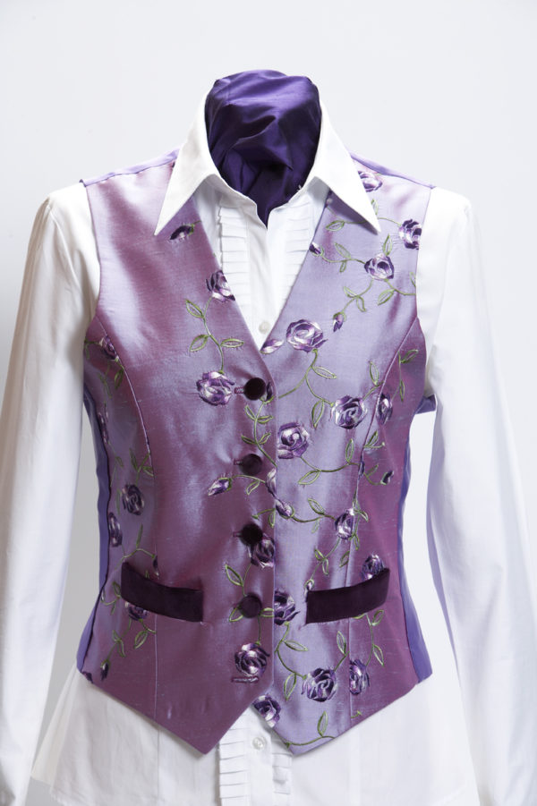 Ladies lilac roses silk embroidered waistcoat with purple velvet pockets and buttons