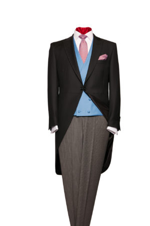Black herringbone light weight morning coat and grey stripe wool trouser