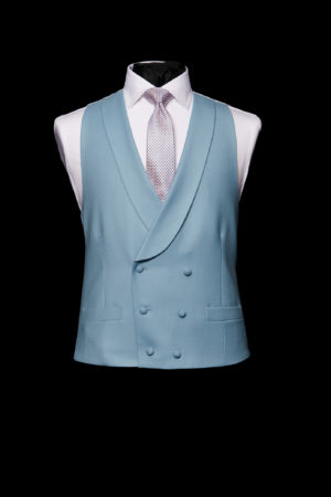 Cornflower blue wool double-breasted waistcoat