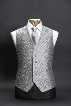 Silver silk waistcoat with pleats