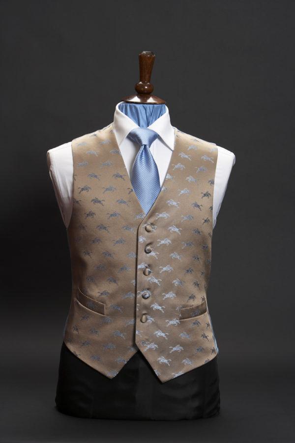 Beige silk waistcoat with blue horses