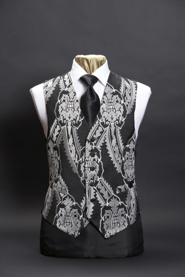 Black silk waistcoat with large white embroidered damask pattern