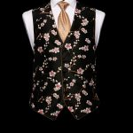 Black silk base limited edition silk embroidered waistcoat with silk piping
