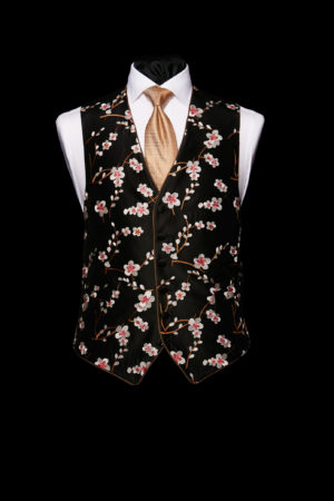 Black silk embroidered orchid waistcoat with piping