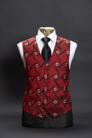 Red and black silk embroidered waistcoat with gold embroidery