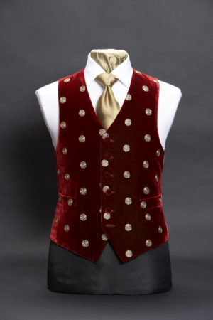 Burgundy silk velvet embroidered waistcoat with gold spots