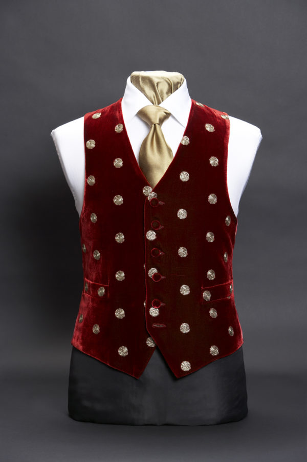 Burgundy velvet embroidered waistcoat with gold spots