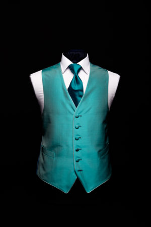 Turquoise blue silk waistcoat with piping