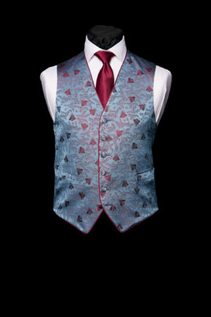 Blue and burgundy silk bee waistcoat with piping