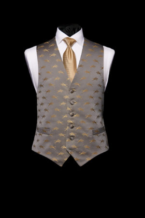 Grey and gold silk waistcoat with horses