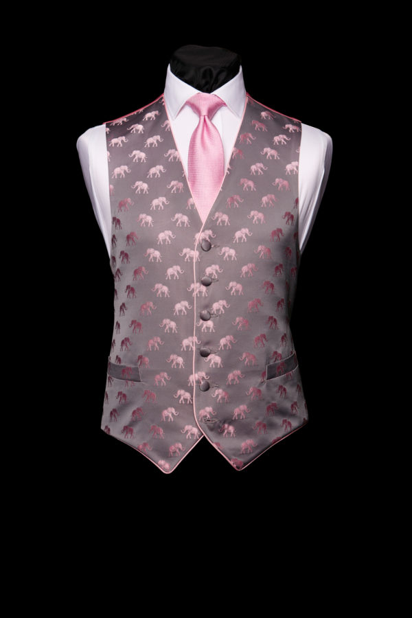 Grey silk waistcoat with pink elephants and silk piping