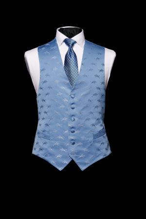 Blue on blue silk horses waistcoat