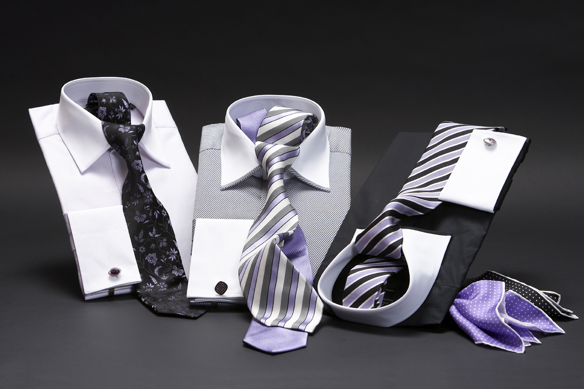 White collar and cuff two fold superfine pure cotton shirts with silk ties