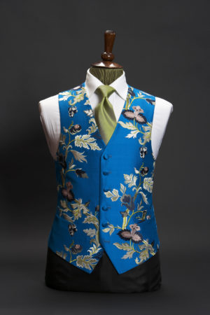 Turquoise blue silk embroidered waistcoat limited edition floral