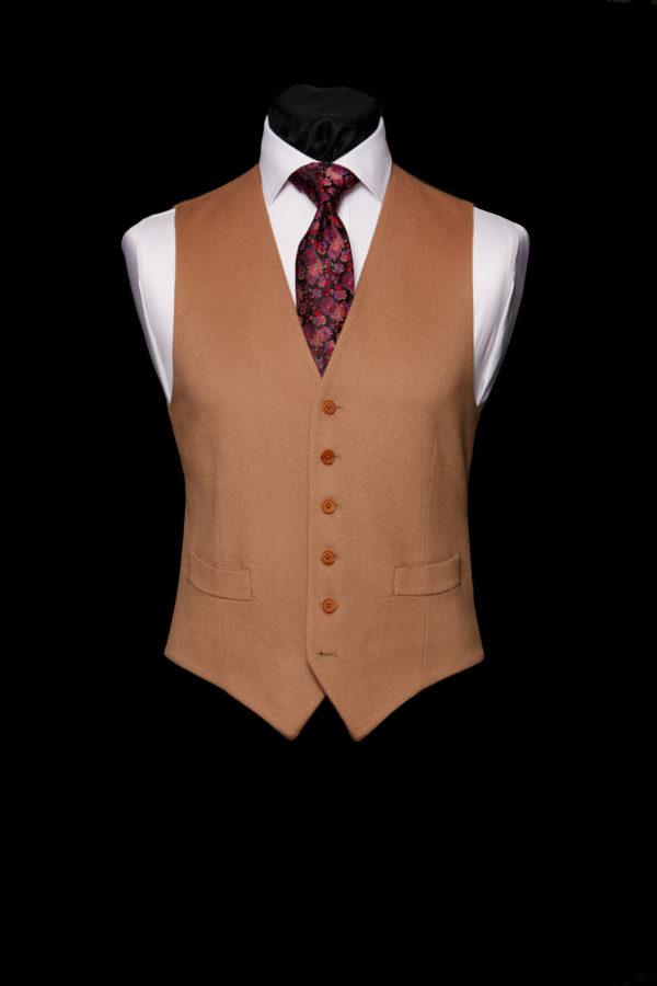 Buff camel coloured cashmere waistcoat