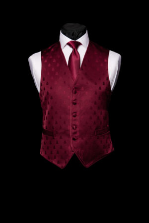 Burgundy silk bee six button single breasted waistcoat with piping