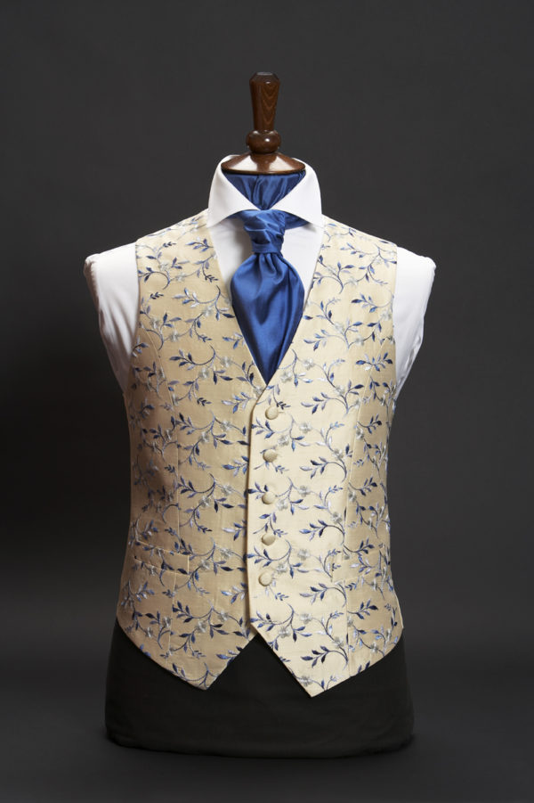 Cream silk waistcoat with blue and silver embroidery