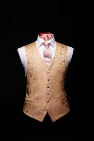 Pink and ivory silk bee waistcoat
